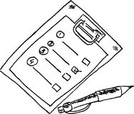 Hand draw sketch, Blank Note and Pen Royalty Free Stock Photos