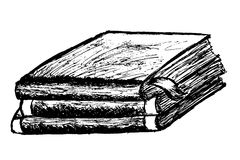Hand Draw Sketch of Book isolated on white Royalty Free Stock Images