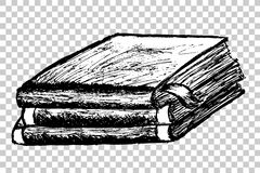 Hand Draw Sketch of Book at transparent effect background Stock Image