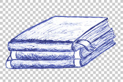 Hand Draw Sketch of Book at transparent effect background Royalty Free Stock Photo