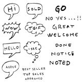 Hand draw sketch of Bubble Chat and Text Royalty Free Stock Photos