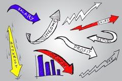 Hand draw sketch, Business grow. Hand draw sketch, arrow Business grow Stock Photo