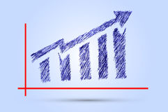 Hand draw sketch, Business grow. Blue Pen Hand draw sketch, Business grow Stock Photo