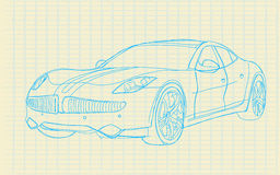 Sketch car_on paper Royalty Free Stock Photo