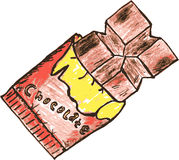 Hand draw sketch, chocolate bar Royalty Free Stock Photography