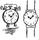 Hand draw sketch, clock and watch Stock Image