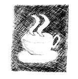 Hand draw sketch, a cup of coffee Stock Photo