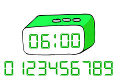 Hand draw sketch of Digital Alarm Clock at white background Stock Images