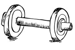 Hand draw sketch of dumbbell Stock Images