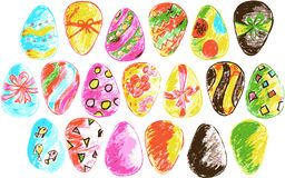 Hand draw sketch Easter eggs, Royalty Free Stock Photos