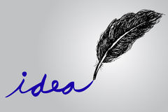 Hand Draw Sketch, Feather and Text Idea Royalty Free Stock Images