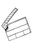 Hand draw sketch of Film Clapper. Isolated on white Stock Photography