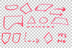 Hand Draw Sketch, Flow Chart Symbol - Red Crayon Stock Photography