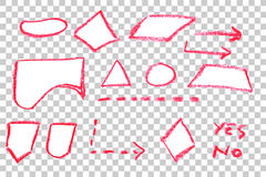 Hand Draw Sketch, Flow Chart Symbol - Red Crayon Stock Photo