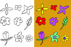 Hand draw sketch of flowers Stock Photography