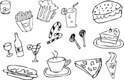 Hand draw sketch of food and drink Stock Photo