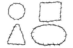 Hand Draw sketch of four Barbed Wire Stock Photos