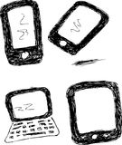 Hand draw Sketch - four Gadget Royalty Free Stock Image