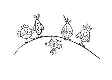 Hand draw sketch funny birds Royalty Free Stock Image