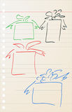 Hand draw sketch of gift Stock Photography