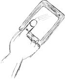 Hand draw sketch, hand pointing tab Royalty Free Stock Photo
