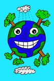 Hand draw sketch of happy earth. At blue background Royalty Free Stock Photo