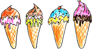 Hand Draw Sketch, Ice Cream Stock Photos