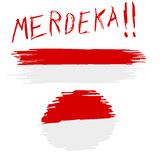 Hand Draw Sketch, Indonesia Flag with `Merdeka` Freedom in Indonesia Language Yell Royalty Free Stock Photo