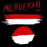 Hand Draw Sketch, Indonesia Flag with `Merdeka` Freedom in Indonesia Language Yell Royalty Free Stock Photography
