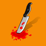 Hand Draw Sketch of Knife and Blood Stock Image