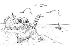 Hand draw sketch of Lot Land bali beach and temple, indonesia. No color Royalty Free Illustration