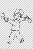Hand draw sketch, Man Boy - Hit Something Royalty Free Stock Photos