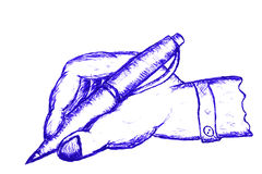 Hand Draw Sketch Man Hand Writing Stock Photography