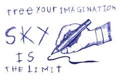 Hand Draw Sketch Man Hand Writing Stock Photos