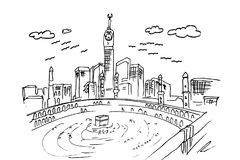 Hand draw sketch of mecca, ka`bah. Vector hand draw sketch of mecca, ka`bahh Royalty Free Illustration
