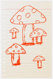 Hand draw sketch, mushrooms Royalty Free Stock Images