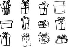 Hand Draw Sketch Of Gift Stock Photos