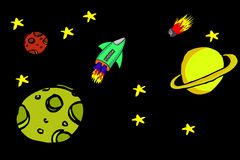 Hand draw sketch outer space and rocket Stock Photography