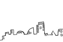 Hand Draw Sketch of Outline Buildings Royalty Free Stock Photos