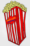 Hand draw sketch of pop corn at gray Royalty Free Stock Photography