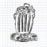 Hand draw sketch, Rubbish bin filled with waste Royalty Free Stock Photos