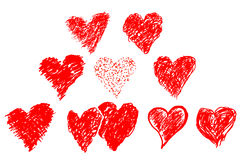 Hand draw sketch, set of red love Stock Photos