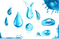 Hand draw sketch, Set of water drops Stock Photos