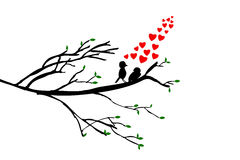Hand draw sketch, silhouette Birds at Branch Stock Images