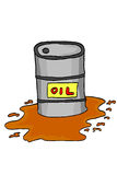 Hand draw sketch, spill oil from barrel. Isolated on white stock illustration
