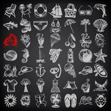 49 hand draw sketch summer icons collection on. Black background, vector illustration Royalty Free Illustration