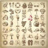 Hand draw sketch summer icons collection Stock Images