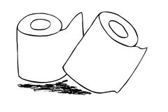 Hand draw sketch of Tissue Paper Roll Royalty Free Stock Images