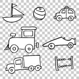 Hand draw sketch of Toddler Toys (Boy) Royalty Free Stock Images