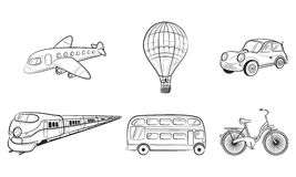 Hand draw sketch Transportation Travel icons. Plane, train, bus, car, balloon. Vector illustration Royalty Free Stock Photos